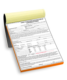 Oral Fluid & Alcohol Drug Screening Form - 50 form pad