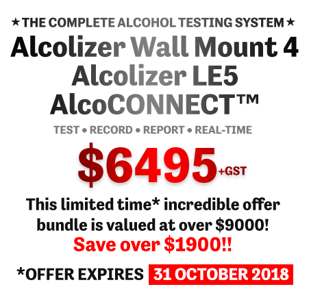 Alcolizer Wall Mount 4 plus Alcolizer LE5 plus AlcoCONNECT Special Offer bundle valued at over $9000 plus GST - save over $2500. Offer ends 31 October 2018